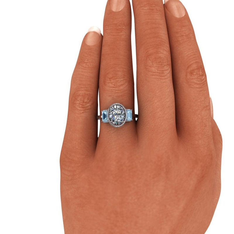 2.73 ctw Oval Moissanite Engagement Ring, Aquamarine Three Stone Ring-Bel Viaggio Designs