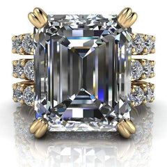 9.17 CTW Emerald Cut Bridal Set Colorless Moissanite Engagement Ring and Moissanite Wedding Bands-BVD