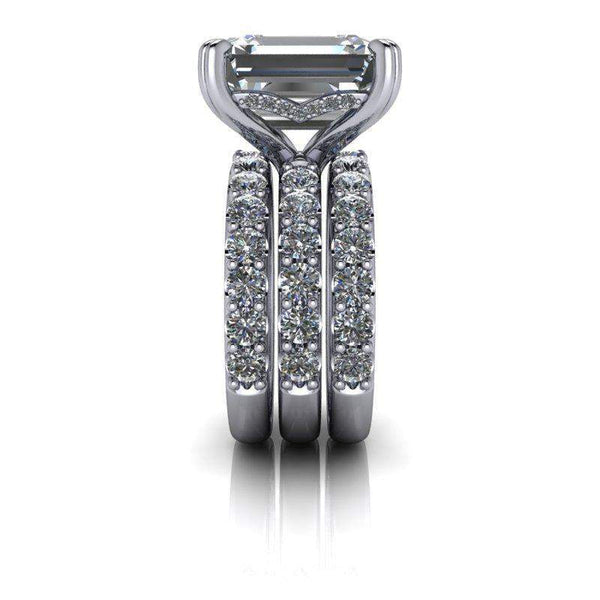 9.17 CTW Emerald Cut Bridal Set Moissanite Engagement Ring & Diamond Wedding Bands-Bel Viaggio Designs