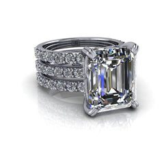 9.17 CTW Emerald Cut Bridal Set Moissanite Engagement Ring and Moissanite Wedding Bands-Bel Viaggio Designs