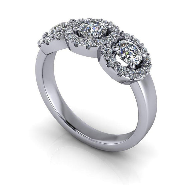 .92 CTW Forever One Moissanite Halo Anniversary Ring-BVD