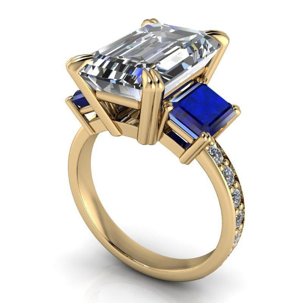 9.36 CTW Exotic Cut Emerald Cut Forever One Moissanite & Sapphire Anniversary Ring-BVD