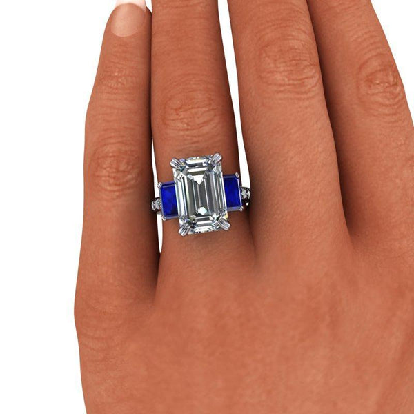 9.36 CTW Exotic Cut Emerald Cut Forever One Moissanite & Sapphire Anniversary Ring-Bel Viaggio Designs