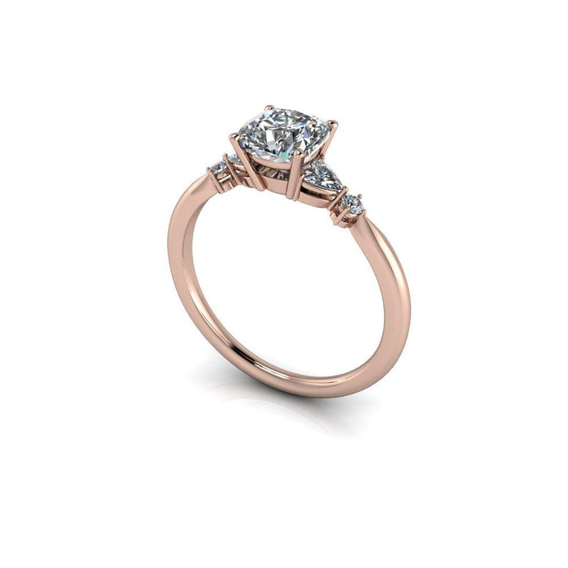 1.34 ctw Cushion Cut & Trillion Five Stone Moissanite Engagement Ring-Bel Viaggio Designs