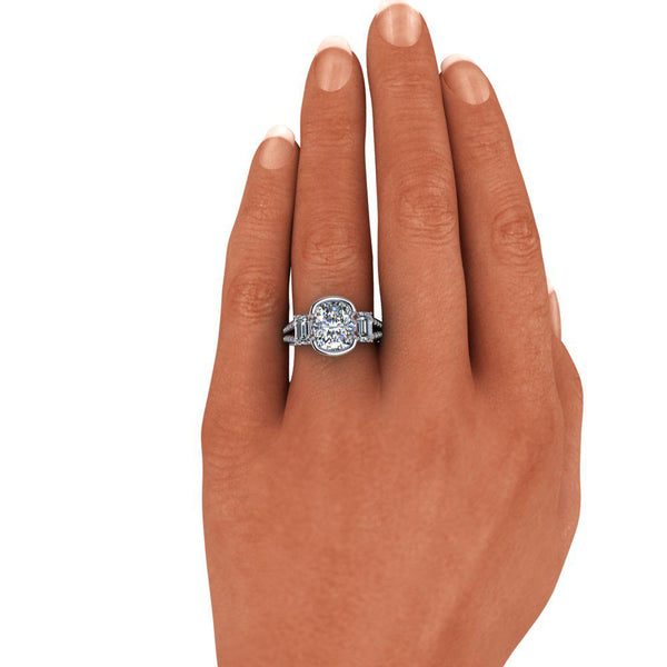 4.93 CTW Elongated Cushion Cut, Emerald Cut Moissanite & Diamond Engagement Ring-Bel Viaggio Designs