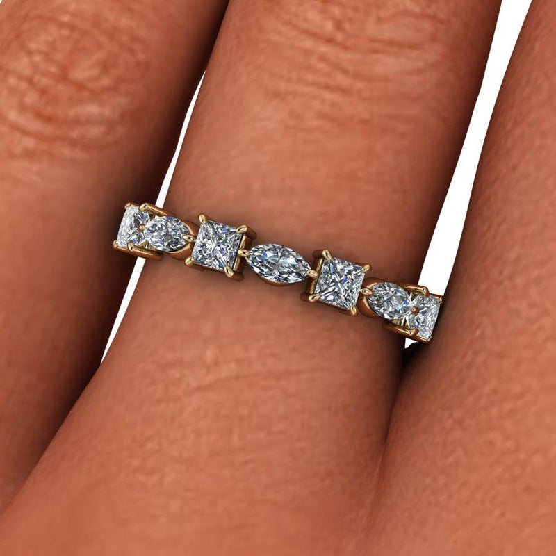 .60 CTW Princess and Marquise Moissanite Wedding Band-Bel Viaggio Designs