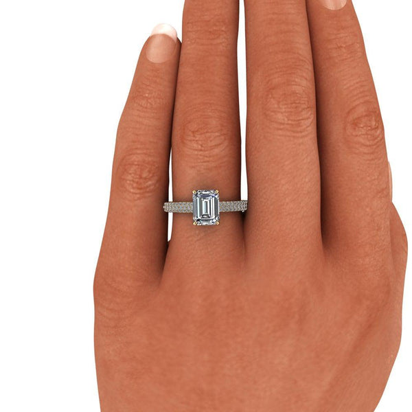 2.05 CTW Emerald Cut Colorless Moissanite & Diamond Pave Engagement Ring-Bel Viaggio Designs
