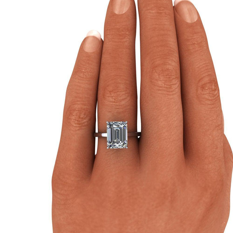 Emerald Cut Colorless Moissanite Solitaire Cathedral Ring 3.86 ctw-Bel Viaggio Designs