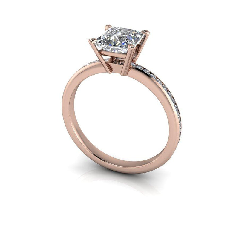 Colorless Princess Cut Moissanite Engagement Ring-Bel Viaggio Designs