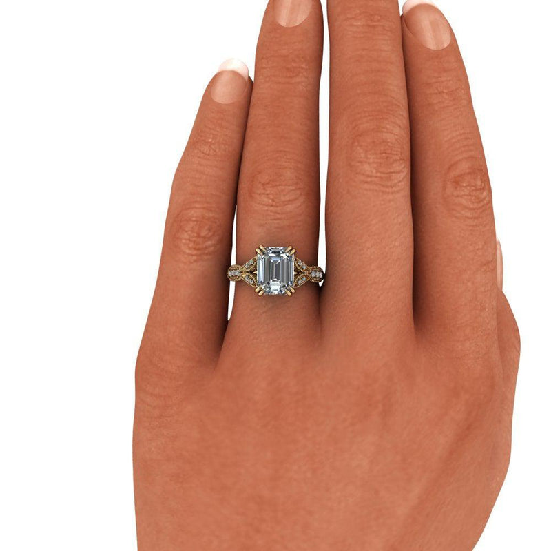 Emerald Moissanite & Diamond Vintage Style Engagement Ring 2.60 ctw-Bel Viaggio Designs