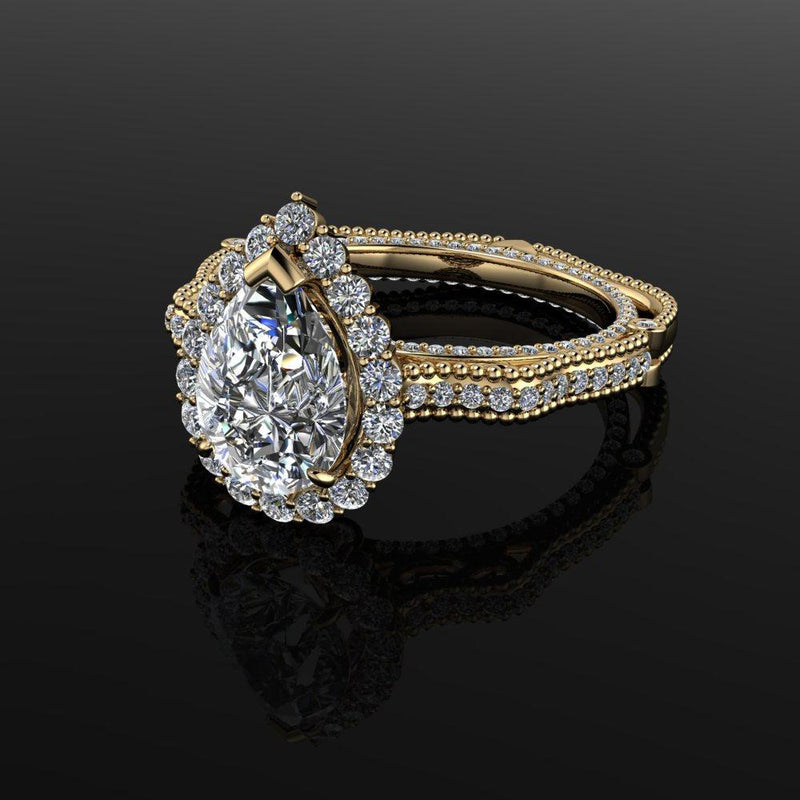 3.00 ctw Pear Moissanite Engagement Diamond Vintage Style Setting-Bel Viaggio Designs