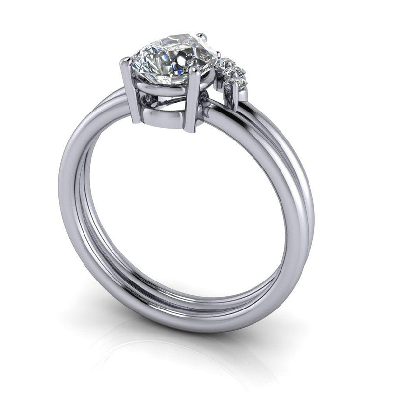 1.35 ctw Pear Colorless Moissanite Engagement Ring Diamond Bridal Set-Bel Viaggio Designs