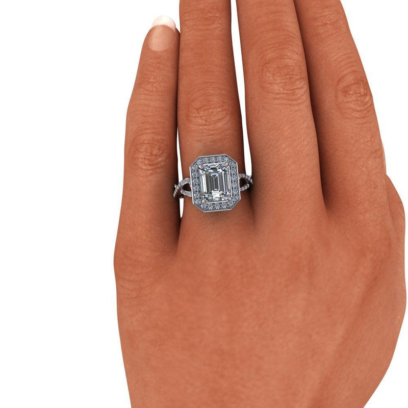 Emerald Cut Colorless Moissanite Woven Engagement Ring 3.15 ctw-Bel Viaggio Designs