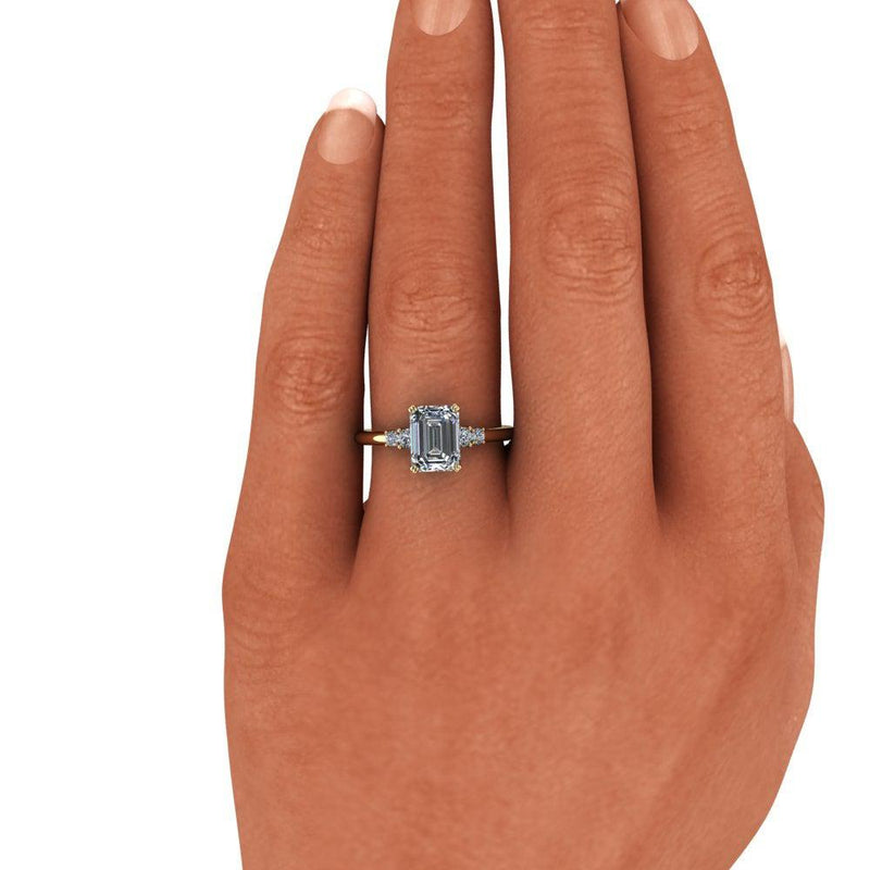 1.93 ctw Emerald Cut & Round Five Stone Moissanite Engagement Ring-Bel Viaggio Designs