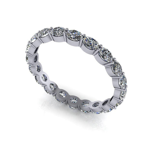 Oval Diamond Wedding Band, Eternity Band 1.20 ctw-Bel Viaggio Designs
