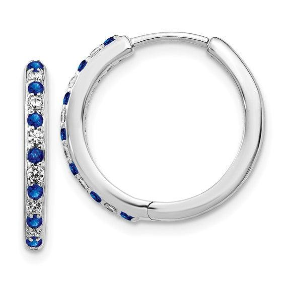 14kw Lab Grown Diamond SI1/SI2, G H and Sapphire Hinge Hoop Earrings-Bel Viaggio Designs