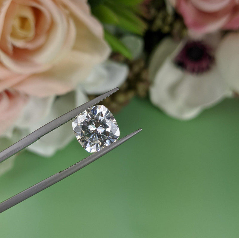 Loose Colorless Moissanite Cushion Cut 4.20 ct-Bel Viaggio Designs