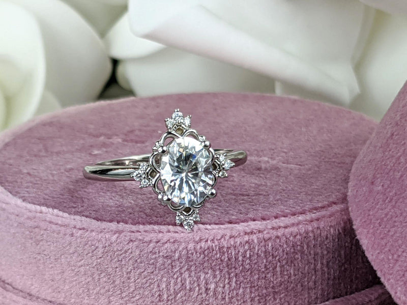 1.61 ctw Charles & Colvard Moissanite Halo Engagement Ring-Bel Viaggio Designs