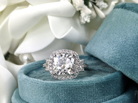 Cushion Cut Moissanite & Diamond Engagement Ring 4.38 ct-Bel Viaggio Designs
