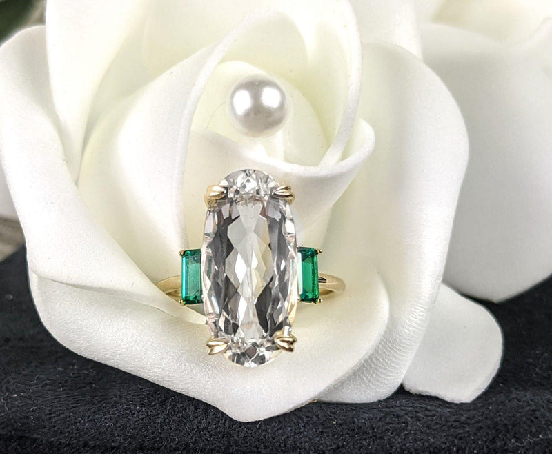 5.67 ctw White Beryl & Green Emerald Three Stone Ring-Bel Viaggio Designs