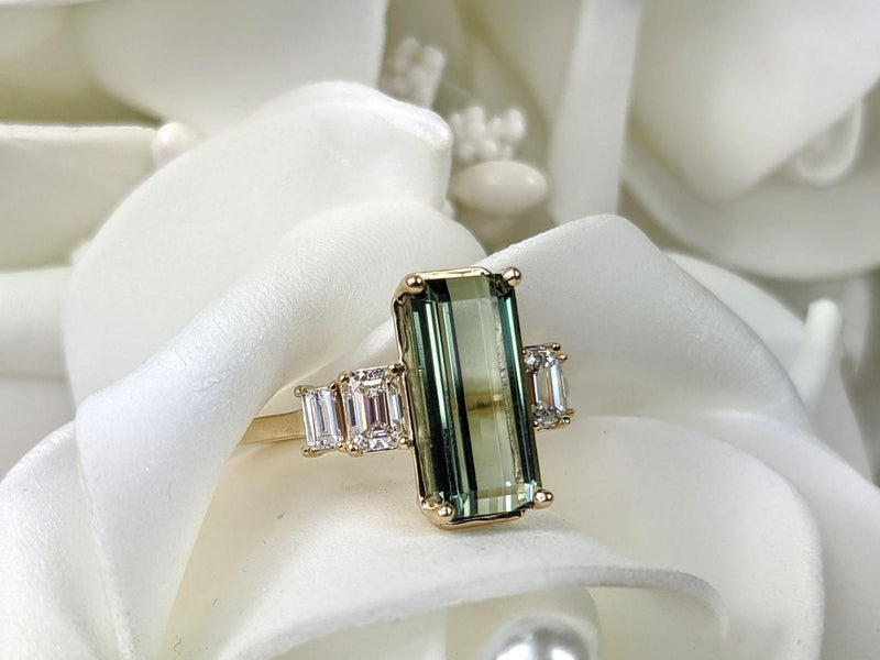 3.58 ctw Tourmaline & Diamond Three Stone Ring-Bel Viaggio Designs