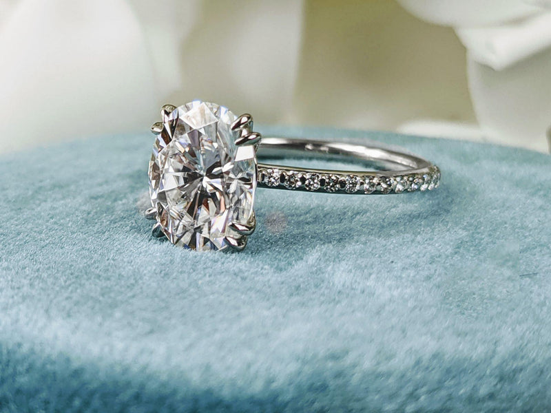 2.30 ctw Oval Moissanite & Lab Grown Diamond Engagement Ring-Bel Viaggio Designs
