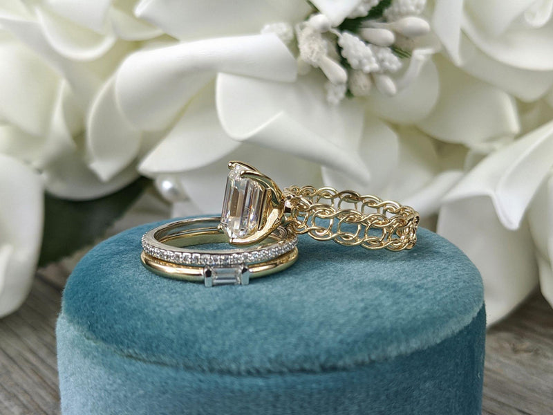 4.12 ctw Emerald Cut Colorless Moissanite & Diamond Stacking Bridal Set-Bel Viaggio Designs