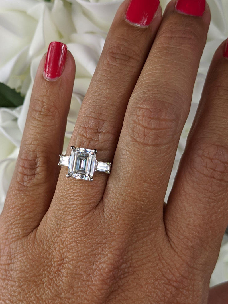 3.20 CTW Emerald Cut Moissanite Three Stone Engagement Ring-Bel Viaggio Designs