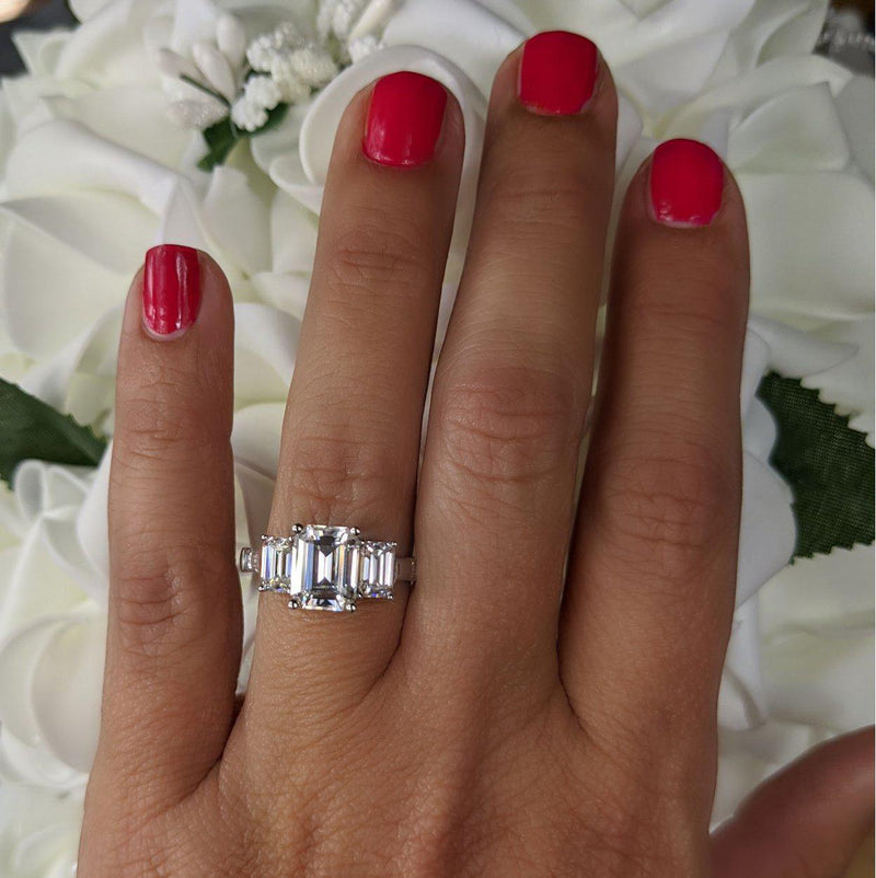 4.42 CTW 5-Stone Emerald Cut and Colorless Moissanite Baguette Engagement Ring-Bel Viaggio Designs