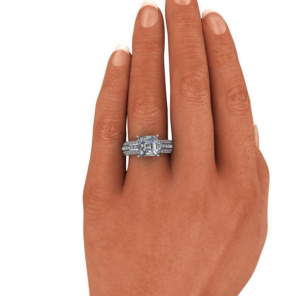 Asscher Cut Forever One Moissanite Engagement Ring 2.76 ctw-BVD