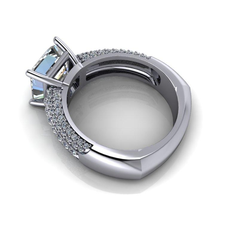 Asscher Cut Forever One Moissanite and Diamond Engagement Ring 2.76 ctw-Bel Viaggio Designs