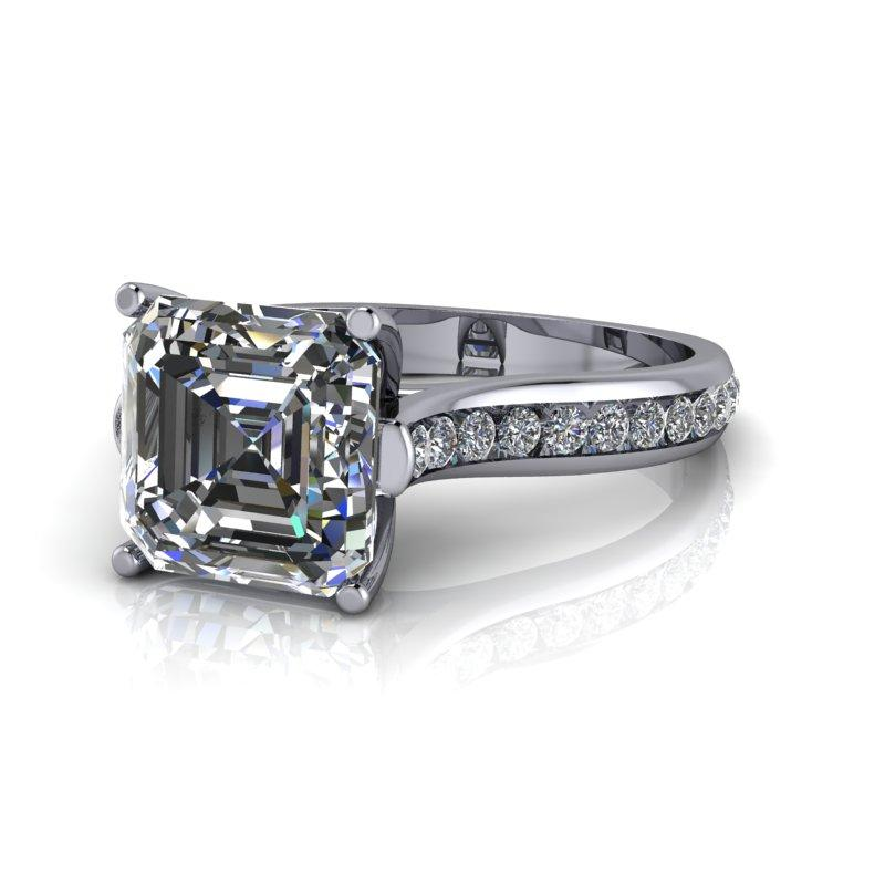 Asscher Cut Forever One Moissanite Engagement Ring, Channel Set 2.53 CTW-Bel Viaggio Designs