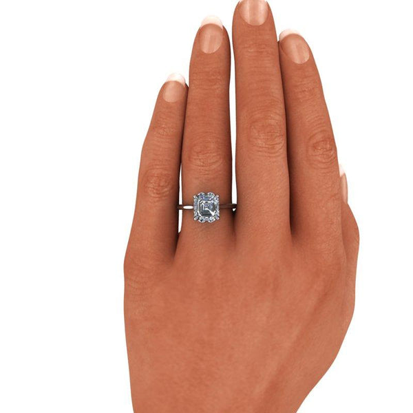 Asscher Cut Forever One Moissanite Engagement Ring, Solitaire Ring 1.30 ctw-BVD