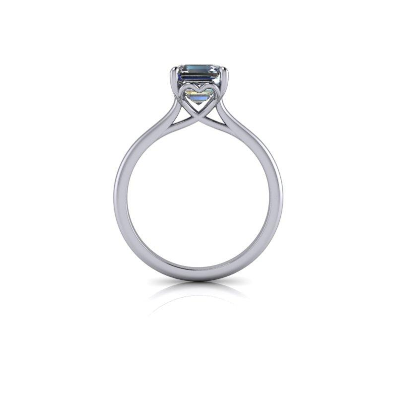 Asscher Cut Forever One Moissanite Engagement Ring, Solitaire Ring 1.30 ctw-Bel Viaggio Designs