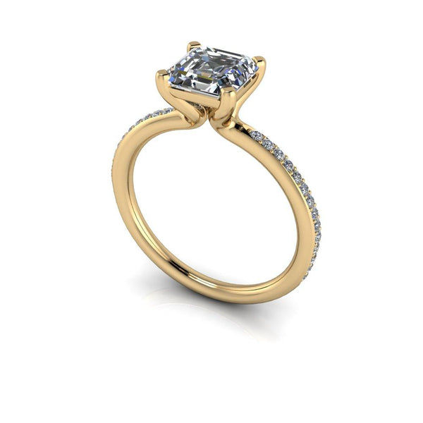Asscher Cut Moissanite Engagement Ring 1.52 ctw-Bel Viaggio Designs