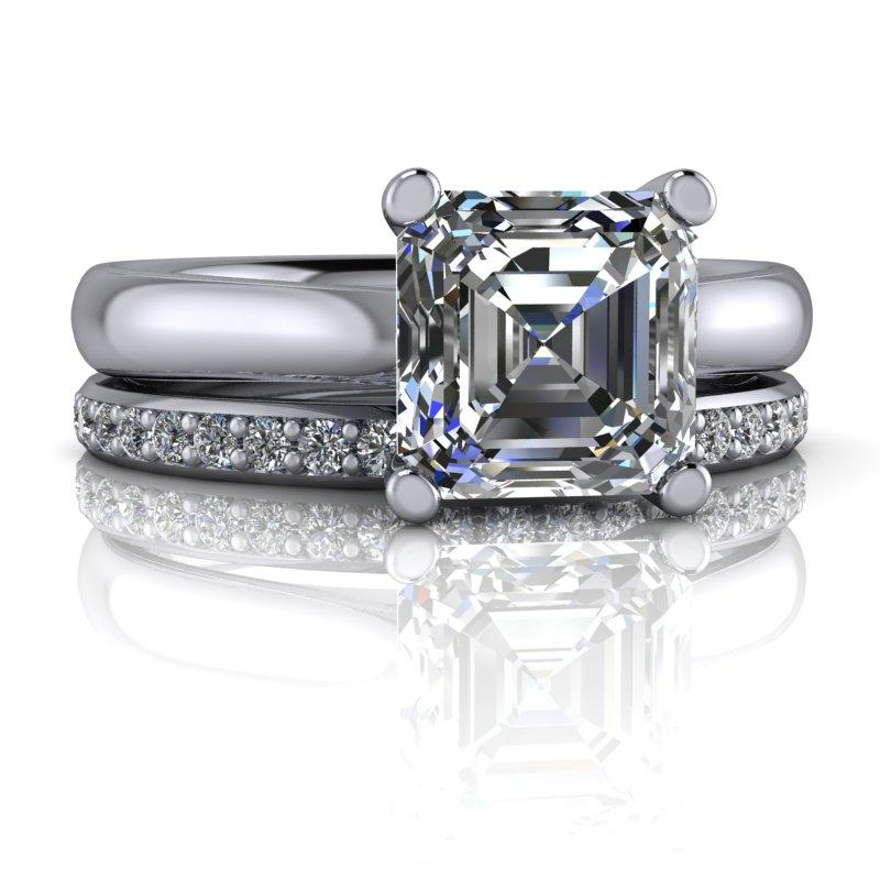 Asscher Cut Moissanite Engagement Ring/Bridal Set 1.54 ctw-Bel Viaggio Designs