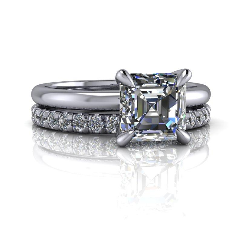 Asscher Cut Moissanite Engagement Ring/Bridal Set 1.70 ctw-Bel Viaggio Designs
