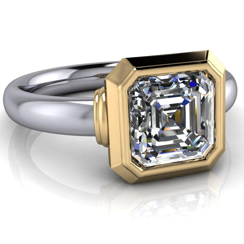 Asscher Forever One Moissanite Engagement Ring 1.30 ctw-Bel Viaggio Designs