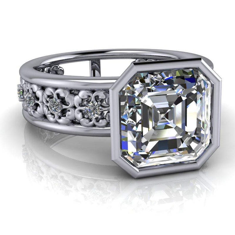 Asscher Forever One Moissanite Engagement Ring 2.51 ctw-Bel Viaggio Designs