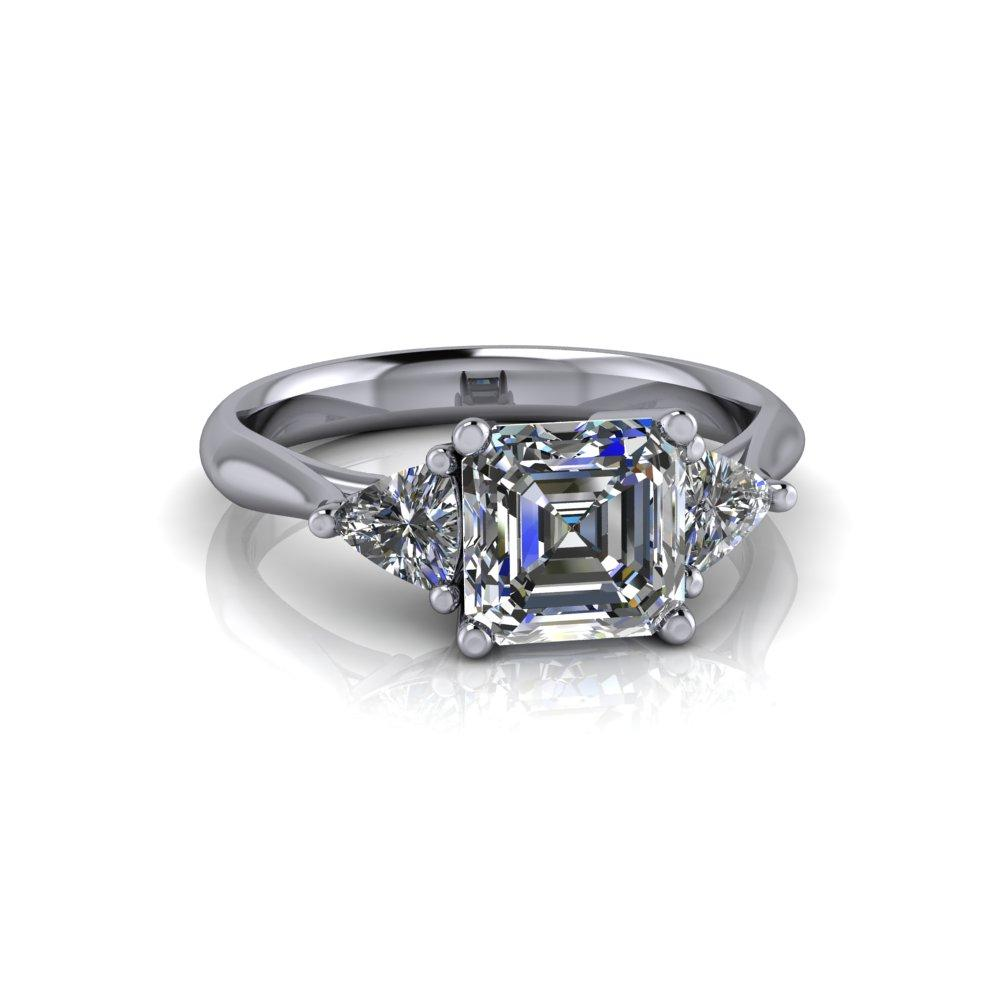 Asscher Forever One Moissanite Engagement Ring Three Stone Ring 1.70 ctw-Bel Viaggio Designs
