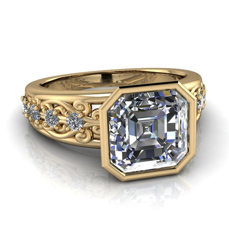 Asscher Forever One Moissanite Filigree Engagement Ring 2.45 ctw-Bel Viaggio Designs