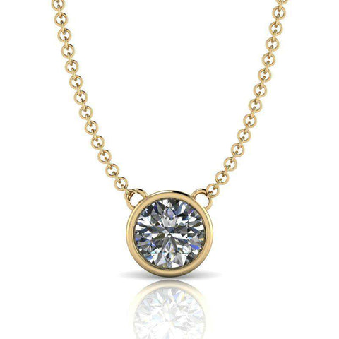 Bezel Round Stone Drop Necklace - Moissanite Round Stone Necklace 1.00 CTW-BVD