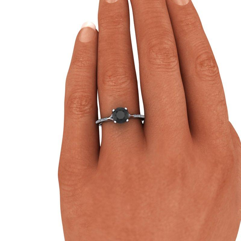 Black Diamond Engagement Ring 1.17 CTW-Bel Viaggio Designs