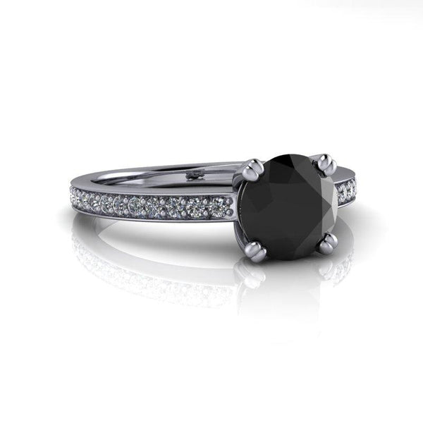 Black Diamond Engagement Ring 1.20 CTW-Bel Viaggio Designs