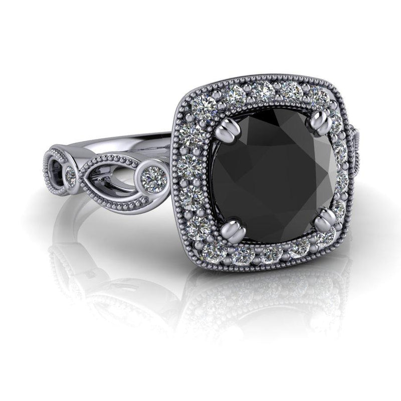 Black Diamond Engagement Ring 1.75 CTW-Bel Viaggio Designs