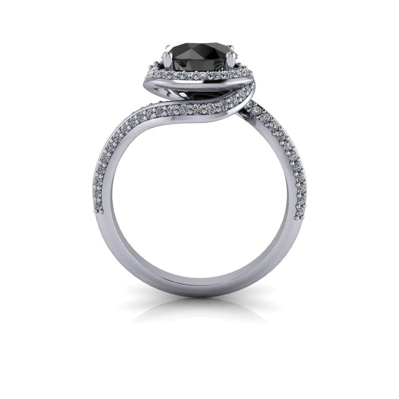 Black Diamond Engagement Ring 1.85 ctw-Bel Viaggio Designs