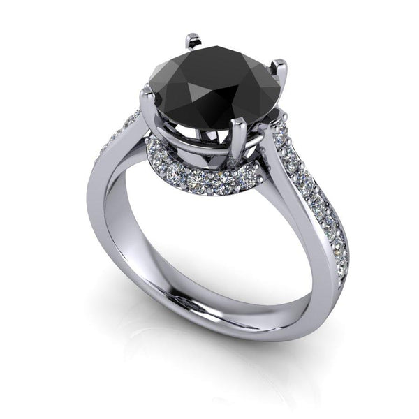 Black Diamond Engagement Ring 2.95 ctw-Bel Viaggio Designs