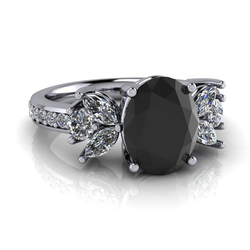Black Diamond Engagement Ring 3.43 CTW-Bel Viaggio Designs