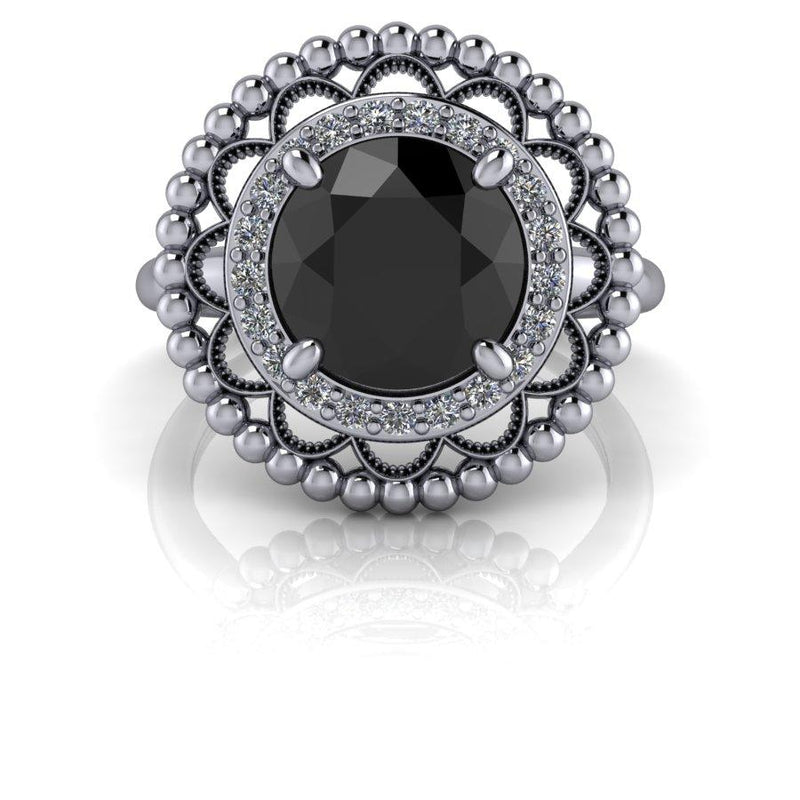 Black Diamond Halo Engagement Ring 1.90 ctw-Bel Viaggio Designs