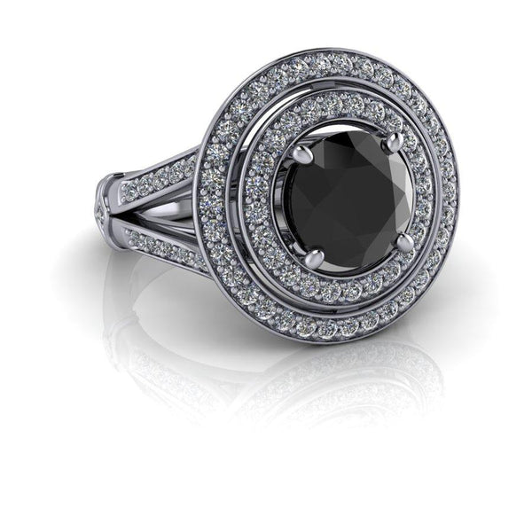 Black Diamond Ring, Diamond Anniversary Ring 2.06 CTW-Bel Viaggio Designs